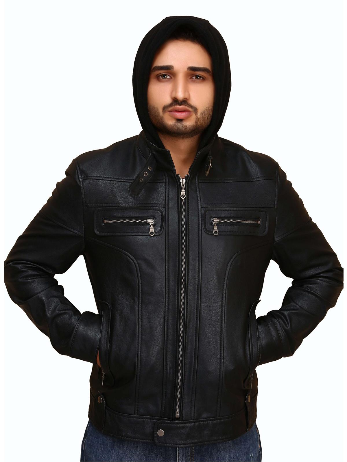 Mens Slim Fit Biker Hooded Leather Jacket
