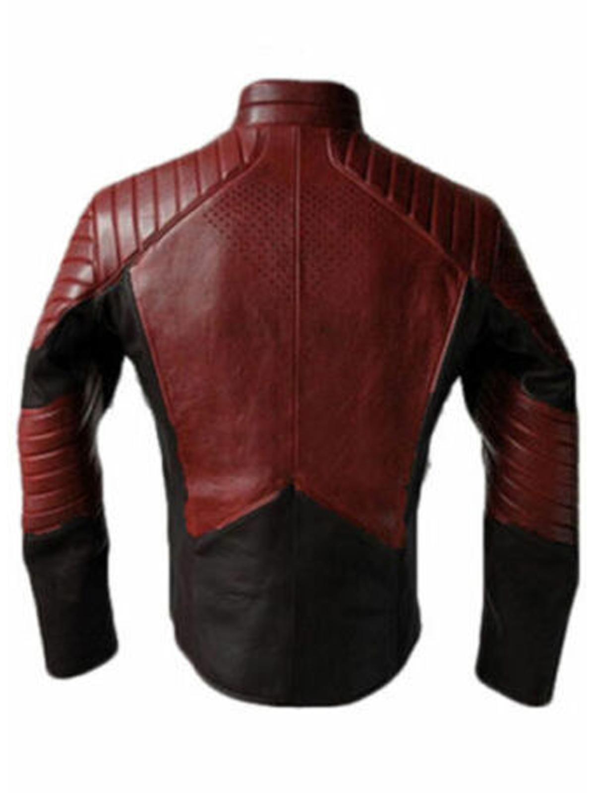 Superman Burgundy Red & Black Leather Jacket
